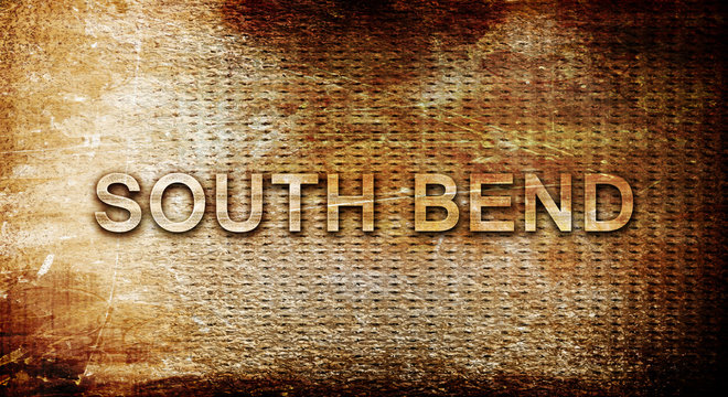south bend, 3D rendering, text on a metal background