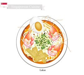 Laksa or Singaporean Spicy Rice Noodle Soup