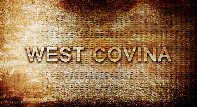 west covina, 3D rendering, text on a metal background