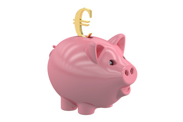 Piggy bank with symbol euro, 3D rendering