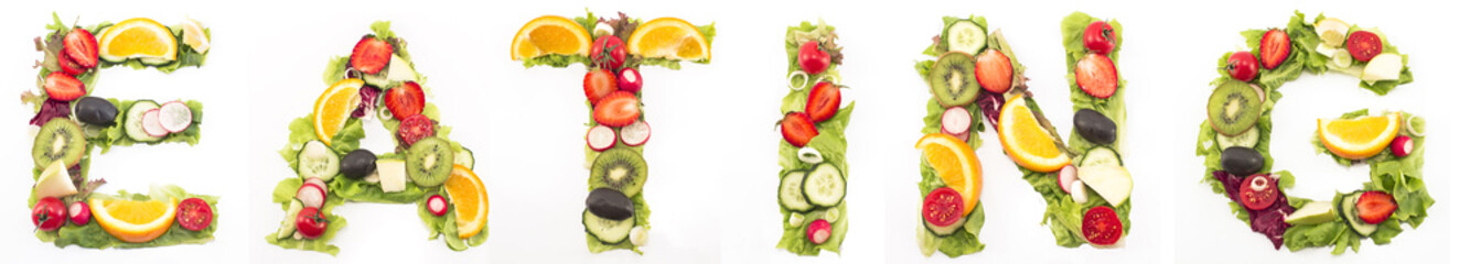 Word eating made of salad and fruits