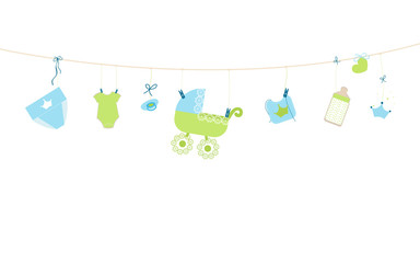 Baby shower card. Baby boy hanging symbols illustration