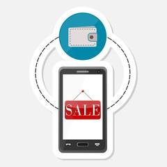 Ecommerce icon, Shopping design, Smart phone sticker