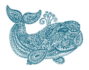 Whale in paisley doodle mehndi style. Hand drawn illustration with whale. Ornamental patterned whale illustration for tattoo and decoration. Animal in the sea and ocean.
