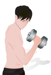 illustration of a man exercising with weights.