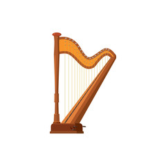Harp icon in cartoon style