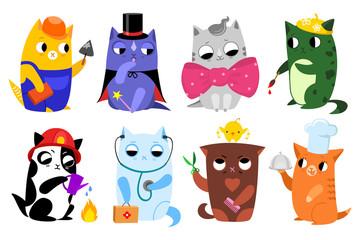 Set of cute flat cartoon profession cats