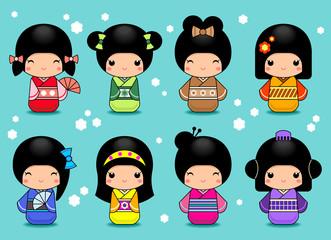 Vector Set of Japanese Kokeshi Dolls