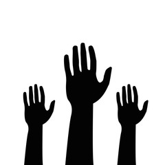 Helping hands , vector in black color on white background