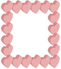 Frame isometric hearts pink, vector
