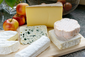 tray with different French cheeses