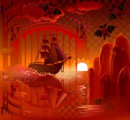 Illustration of fantastic ship in wonderland, vector cartoon image.