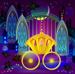 Illustration of fantastic golden carriage in wonderland kingdom, vector cartoon image.