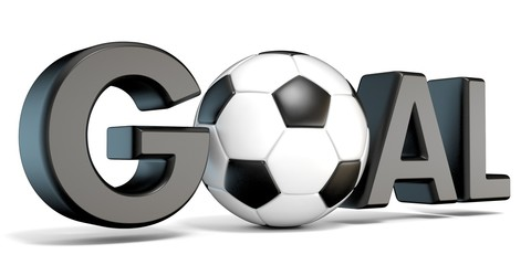 Word GOAL with the football, soccer ball. 3D render illustration isolated on white background