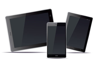 Tablets and smart phone and black screens. Vector Illustration.