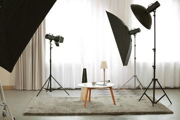Photo studio with design interior of living room