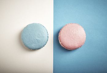 colorful macaron pink And .blue macaron
