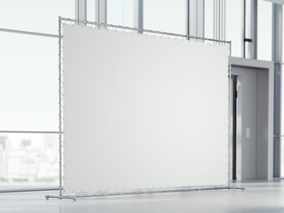 Blank white banner in the office hall. 3d rendering