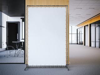 White vertical banner in the office lobby. 3d rendering