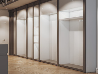 Empty shelves in the modern boutique. 3d rendering