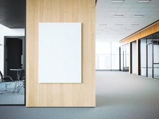 Empty white poster on the office wall. 3d rendering Wall mural