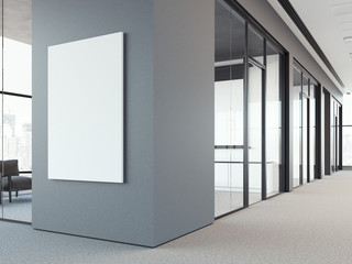 Empty white poster on the gray wall. 3d rendering
