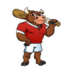bull with baseball bat.