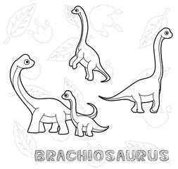 Dinosaur Brachiosaurus Cartoon Vector Illustration Monochrome