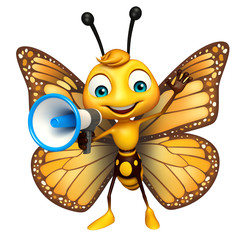 cute Butterfly cartoon character with loud speaker