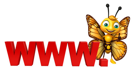 cute Butterfly cartoon character with www. sign