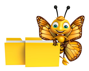 Butterfly cartoon character with folder