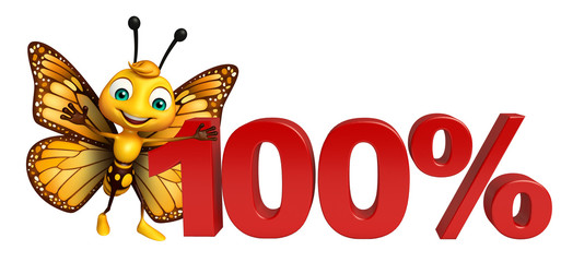 cute Butterfly cartoon character with 100% sign