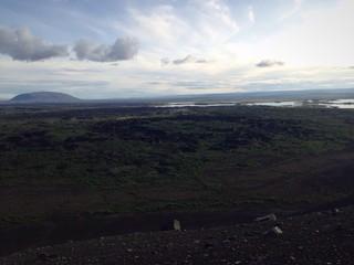 Blick auf die Dimmuborgir vom Krater Hvertfjall in Island