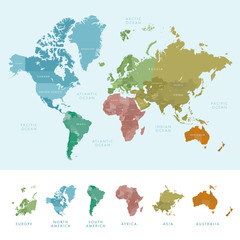 Continents and countries on the world map marked. Colored highly detailed world map. Vector illustration