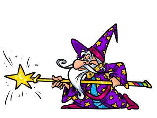 Wizard magic staff cartoon illustration