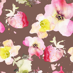 Strawberry flowers seamless pattern watercolor. Abstract graphic