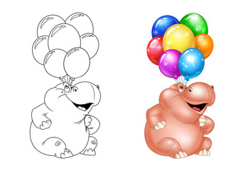 Hippo balloons holiday coloring pages