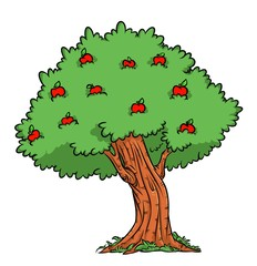 Apple tree Harvest Apple cartoon illustration