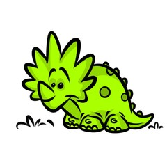 Triceratops Dinosaur Green cartoon illustration isolated image animal character
