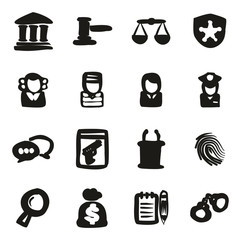 Courthouse Trial Icons Freehand Fill