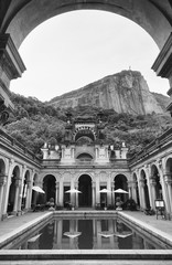 Weathered colonial architecture of the public Parque Lage in Rio de Janeiro, Brazil