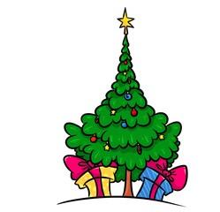 Christmas  tree gifts cartoon illustration  isolated image