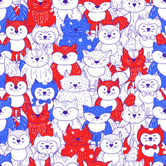 Cats seamless pattern