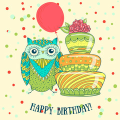 Greeting card cute cartoon owl with cake. Vector illustration hand drawn.