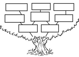 Tree plan smart goal cartoon illustration contour