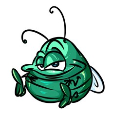 Little green beetle cartoon illustration isolated image character  insect