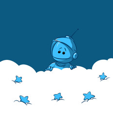 Cosmonaut star sky cloud illustration cartoon