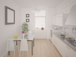 Comfortable bright kitchen with white furniture.