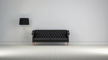 black  vintage sofa on the room 3d rendering