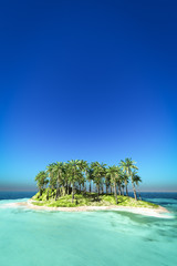Tropical island on the blue sea